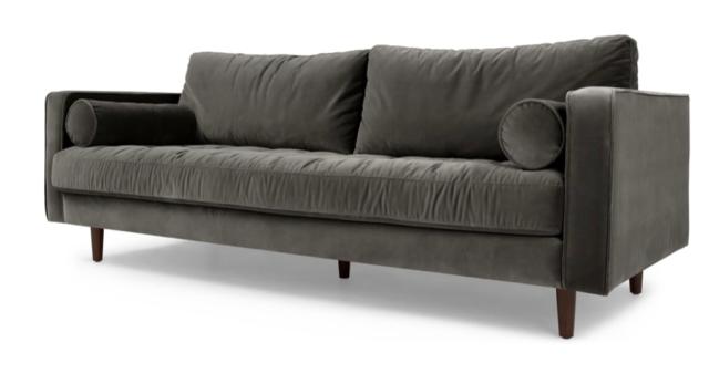 Made.com Scott 3 Seater Sofa, Concrete Cotton Velvet
