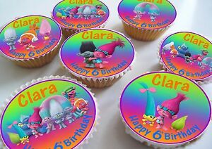 Image Is Loading 24 Trolls Birthday Celebration Personalised Cupcake Toppers