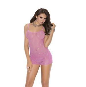097a4035468770 Image is loading Elegant-Moments-Pink-Lingerie-mini-dress-chemise-One-