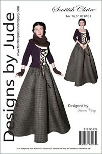 "Outlander Claire Fraser Sewing Pattern for 16.5/"" RTB101 Body Doll Tonner Poldark"