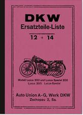 DKW Luxus 200, Luxus 300 und Luxus Spezial 200 Ersatzteilliste Ersatzteilkatalog