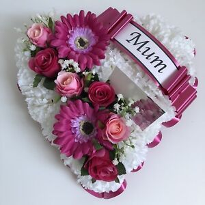 Heart Shaped Silk Artificial Funeral Flowers Wreath//Memorial//Grave Tribute