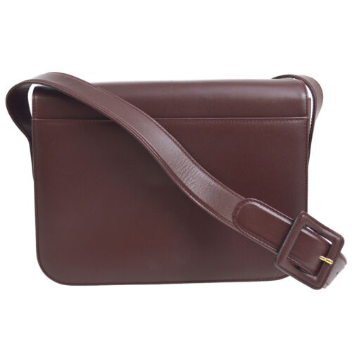 Shoulder Bordeaux Body De Auth O02256 Leather Cartier Bag Cross Must vnOmwN80