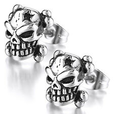 MENDINO Men's Stainless Steel Stud Earrings Star Skull Head Biker Gothic Silver