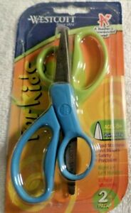 """Assorted Colors Available Pointed Westcott Kids 5/"""" Hard Handle Scissors 2pk"""