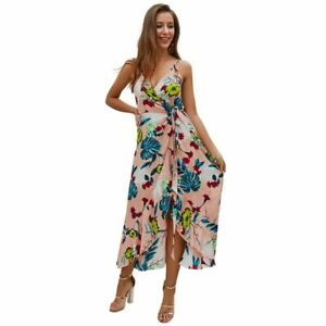 a0ac1a6cedeb Image is loading Womens-floral-long-beach-boho-cocktail-evening-summer-