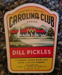 MISS CAROLINA Dill Pickles Jar LABEL File Copy rare 1930s Faison North Carolina