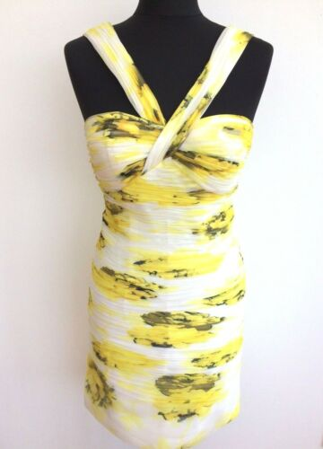 Dress Floral con 10 8 White M Sleeveless Print Body Mini 36 Yellow Wedding 38 w1XnwfqS