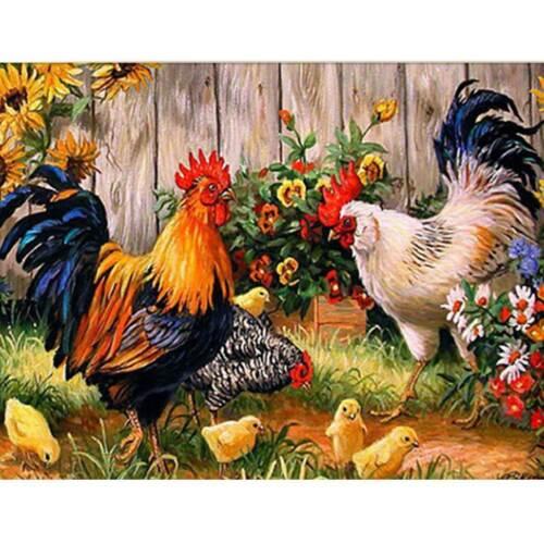 5D Diamond Painting DIY Embroidery Cross Stitch Arts Home Decor Chicken Flocks