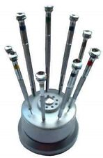 Watchmakers Screwdrivers Set 9 PC French Type With Revolving Base & SPARE BLADES