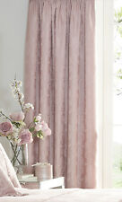 "66"" x 72"" KATHERINE ROSE CURTAINS FLORAL JACQUARD DUSKY PINK LINED PENCIL PLEAT"