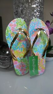 3974bfc82 Lilly Pulitzer Pink Lovers Coral Sz 7 8 Pool Flip Flops Sandals ...