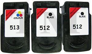 2-x-PG-512-amp-1-x-CL-513-Black-amp-Colour-3-Pack-Ink-fit-Canon-Pixma-MP230-Printer