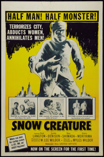 Cult Horror movie poster 24x36 inches approx. The Snow Creature 1954