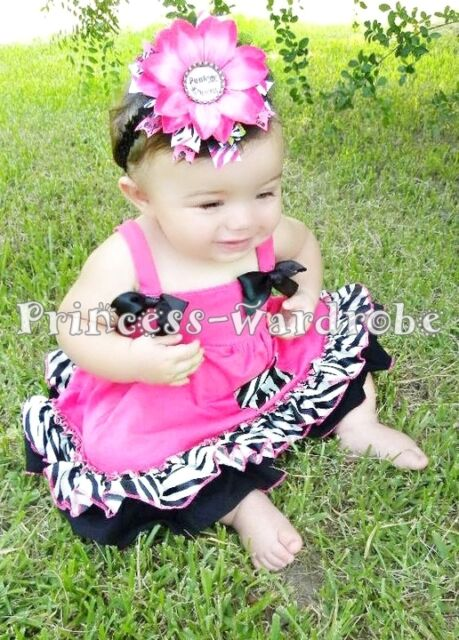 Baby Hot Pink Zebra Swing Top With Bloomer 0-4Y