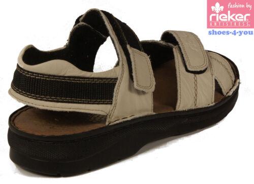 RIEKER Schuhe Trekking Sandalen Sandaletten Leder Klettverschluß weiß NEU