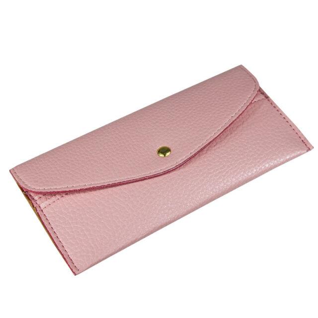 Korean Women Wallet Card Package Clutch Purse Faux Leather Envelope Candy Colour