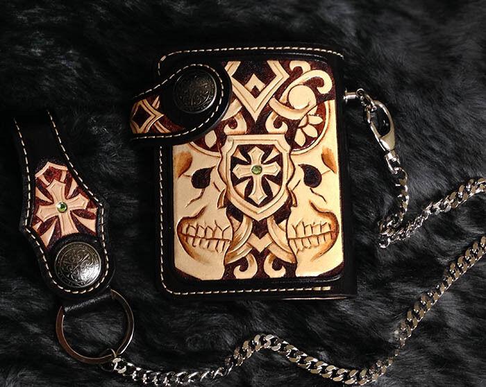 Twin Skull mens bifold biker wallet purse genuine leather handmade B12