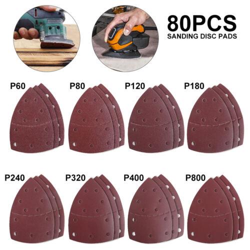 80 X Sanding Sheets Sandpaper 60-800 Grits For Bosch PSM 100A Detail Palm Sander