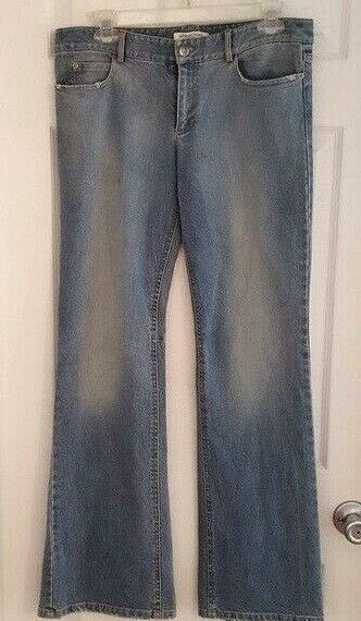 Alice + Olivia Womens Jeans Size 8 Flare Leg Perforated Leather Pleat Distressed