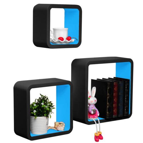 Wandregal 3er Set Bücheregal Hängeregal CD Cube Regal MDF Holz Farbwahl #612