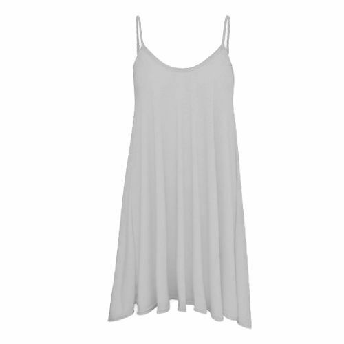 Ladies Camisole Cami Flared Skater Womens Strappy Vest Top Swing Mini Dress 8-14