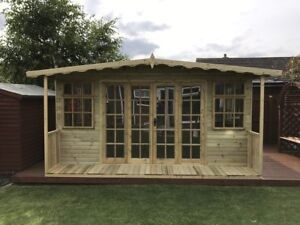 image is loading 16x10 inc 2ft veranda apex lincoln summer house - Garden Sheds With Veranda