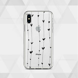 los angeles c8314 b4dbe Details about Cute iPhone XR Case Hearts iPhone 7 8 Plus Cover Clear iPhone  X 6 6s Silicone