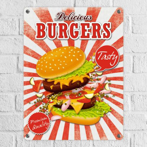 Metallschild Fast Food Delicious Burgers in 15x20 cm Blechschild Werbeschild