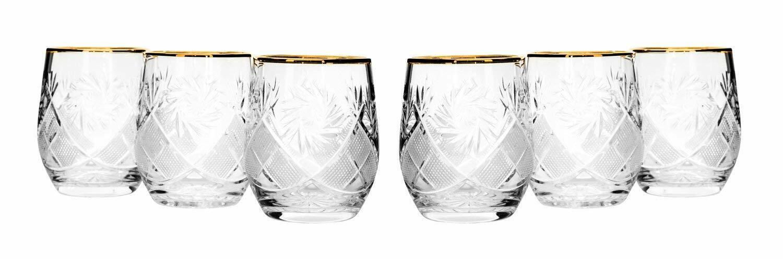Lot de 6 neman Glassworks, 7-Oz or Rim russe Crystal Boisson Lunettes