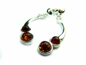 Beautiful-925-Sterling-Silver-amp-Baltic-Amber-Designer-Earrings-SilverAmber-M123