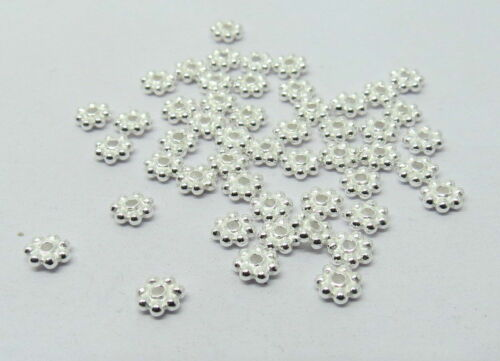 100 Pieces Argent Sterling 925 Perles Entretoise Bali Argent Perles 4 mm Daisy Beads