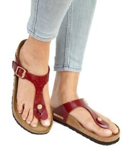 Details about Birkenstock Sandals GIZEH Magic Snake Bordeaux red Birko Flor regular NEW