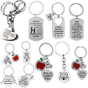 Key Chain Aunt Mom Teacher Dad Gifts Thank You Apple Keyring Keychain Pendant