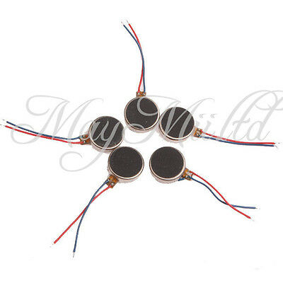 5pcs 3V-4.5V 0.06A Micro Flat Button Type Cellphone Vibrator Motor  Dia 10mm MI