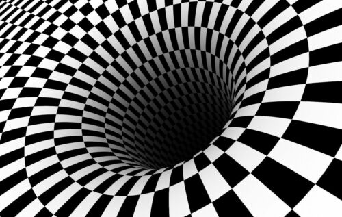 Z1444 ptical Illusion Checkered Black /& White Hole Hot Silk Poster 36x24 40x27