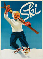 Blond Boy Ski Skis Skiing Having Fun Winter Sport Vintage Poster Repro Free Sh