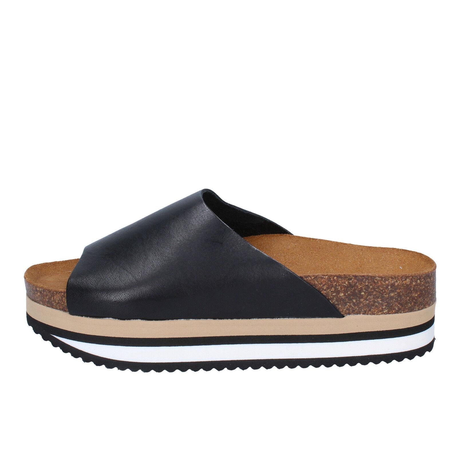 Womens shoes 5 pro ject 39 EU Sandals Black Leather ac603-d