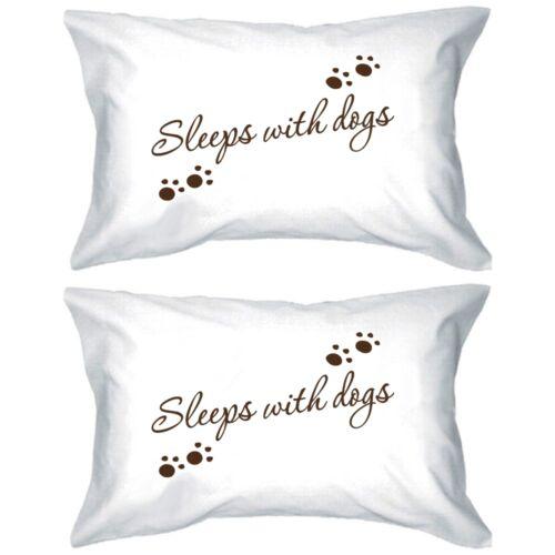 Couple Blanc Taies d/'oreiller-dort avec les chiens Oreillers Housse 100/% coton 1 Paire