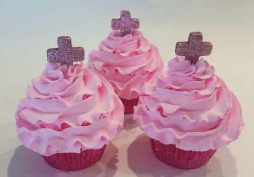 Cross Cupcakes Fake Cupcakes Fake Decoration Pink Set of 3 Dezicakes