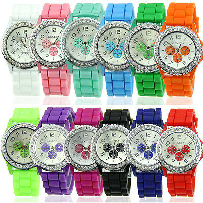 New Women Girl Lady Silicone Crystal Quartz Jelly Wrist Watch