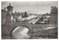 D0967 Milano - Il Naviglio fuori Porta Ticinese - Stampa antica 1929 - Old Print