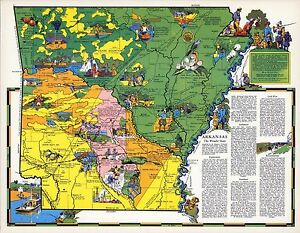 1941 ARKANSAS state pictorial map history folklore whimsical POSTER ...