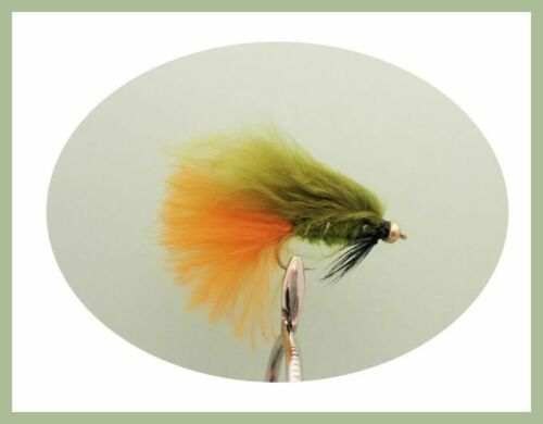 Gold Bead Dawsons Olive Trout flies 12 Pack Size 10 hook Orange and Yellow