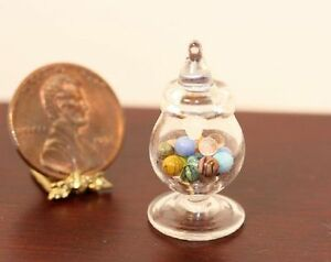 Dollhouse Miniature Glass Jar of 18 Hand Blown Marbles