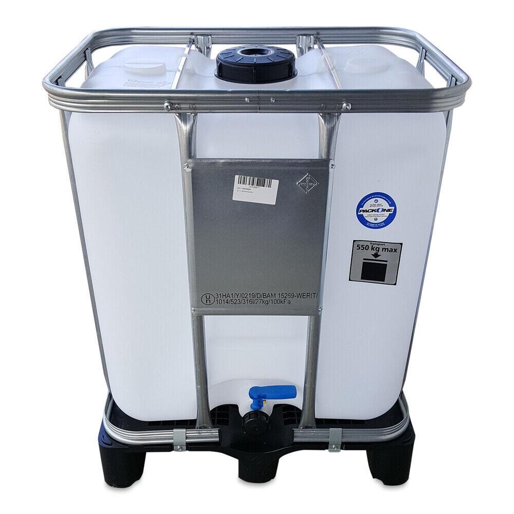 300 L IBC Container Wassertank Frisch-Brauchwassertank natur + Ausgießer Versand
