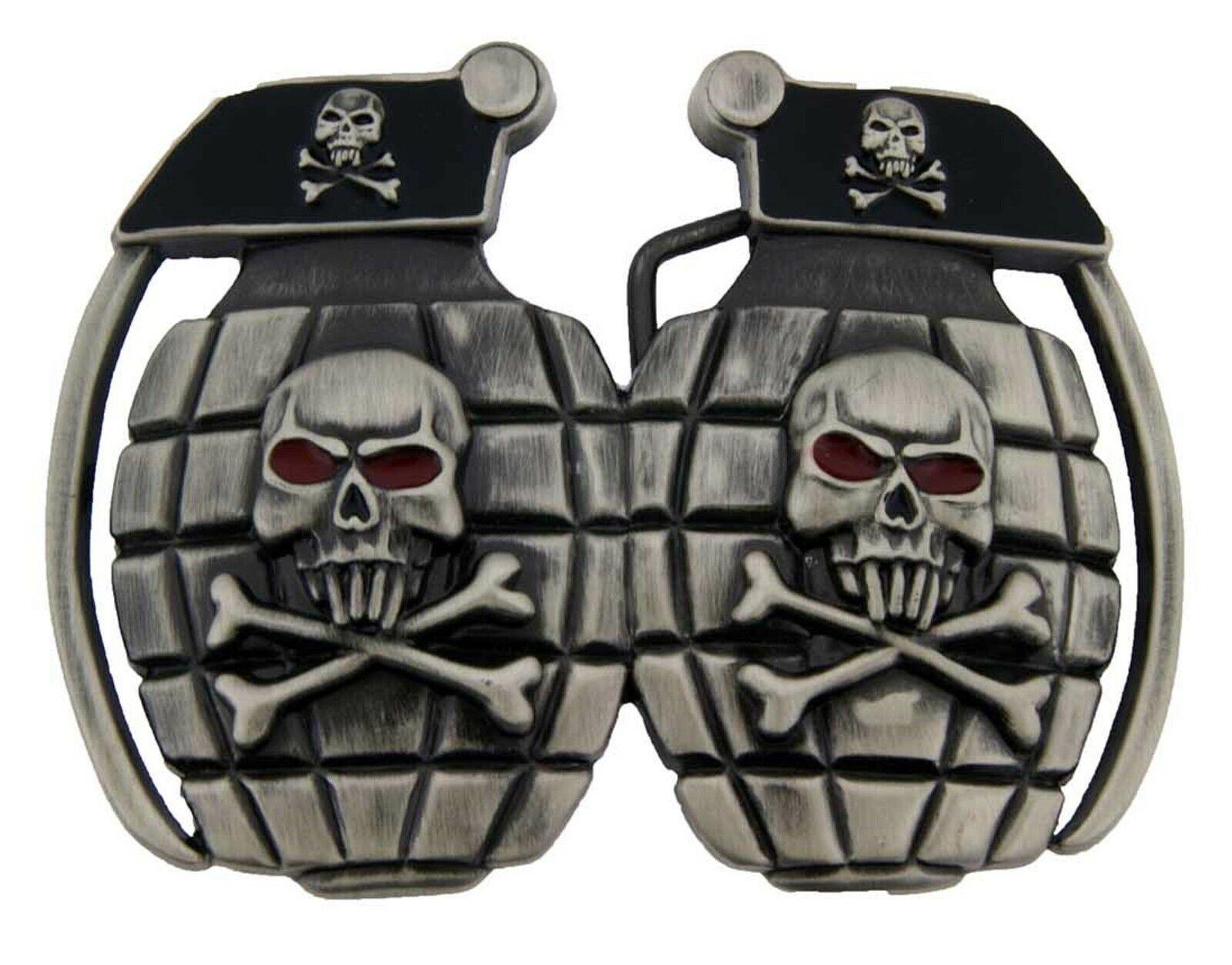 The Grenade Belt Buckle Skull Skeleton Tattoo US Army Soldier Device Explosive
