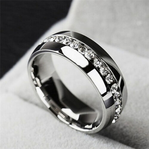 Rhineston Ring High Quality Stainless Steel For Men And Women Couple Rin YF