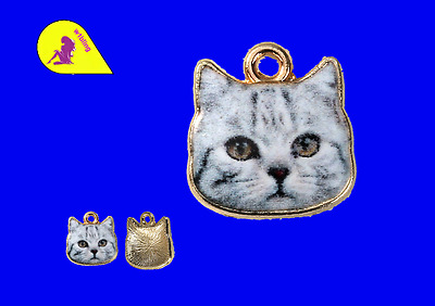 5 Cat Face Grey Gold Plated 13 x 13 mm  (737) P & P £1 per delivery.