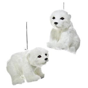 Set-2-Kurt-Adler-Plush-Furry-Polar-Bear-Ornaments-White-Christmas-Tree-Decor